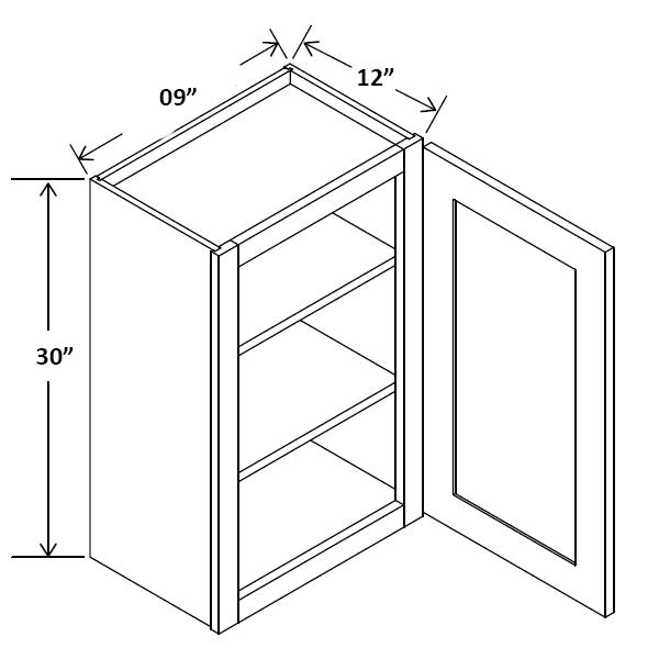 "09"" Wide 30"" Tall Wall Cabinet Single Door Cabinet"