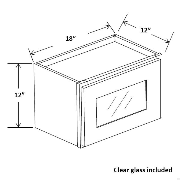 "18"" Wide 12"" Tall Wall Single Glass Doors Cabinet"