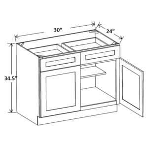 "30"" Wide Base Cabinet Double Door Double Drawer"